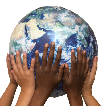 hands holding globe banner-r
